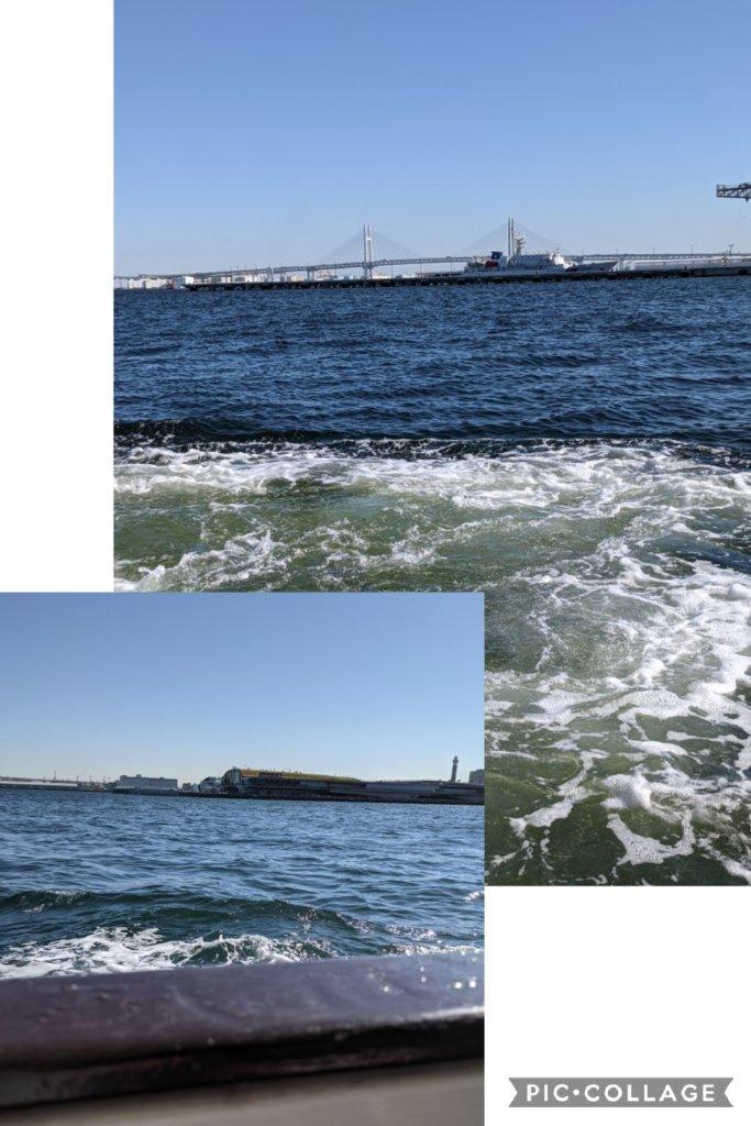大さん橋が見えます。風が強い日で結構波が高い。
